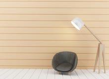La lámpara y el sofá en el cuarto diseñan en la representación 3D Imagen de archivo