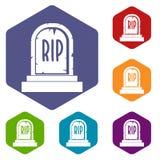 La lápida mortuaria con los iconos del texto del RASGÓN fijó hexágono Imagen de archivo