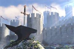 La légende au sujet du Roi Arthur Images libres de droits