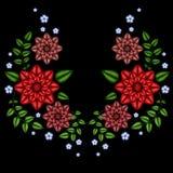 La línea étnica gráficos del cuello de las flores del bordado del diseño floral forma llevar stock de ilustración