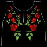 La línea étnica gráficos del cuello de las flores del bordado del diseño floral forma llevar libre illustration