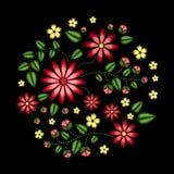La línea étnica gráficos del cuello de las flores del bordado del vector del diseño floral forma llevar stock de ilustración