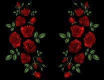 La línea étnica gráficos del cuello de las flores del bordado del diseño floral forma llevar ilustración del vector