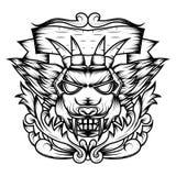 La línea arte de la geometría sagrada principal del diablo ornamental es un ejemplo de la cabeza de un diablo con los colmillos ilustración del vector