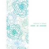La línea azul arte del vector florece el marco vertical Foto de archivo libre de regalías