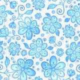 La línea azul drenada florece el modelo inconsútil Imagenes de archivo