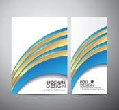 La línea azul plantilla del extracto del diseño de negocio del folleto del fondo o rueda para arriba libre illustration