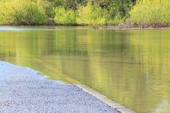 La línea blanca de marca de camino en una carretera de asfalto va debajo del agua Imagenes de archivo