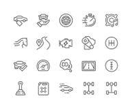 La línea coche ofrece iconos stock de ilustración