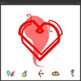 La línea continua recta creó el icono del corazón libre illustration