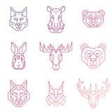 La línea de cabezas linear de los animales del bosque iconos con pendiente llena Imágenes de archivo libres de regalías