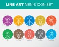 La línea de contorno fina moderna iconos fijó de avatares de la gente Imágenes de archivo libres de regalías