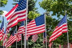 La línea de los E.E.U.U. señala el exterior por medio de una bandera en la luz del sol en parque al aire libre Imagen de archivo libre de regalías