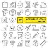 La línea de medición sistema del icono, símbolos colección, bosquejos del vector, ejemplos del logotipo, equipo de la medida firm stock de ilustración