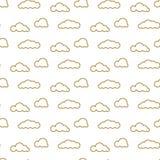 La línea de oro se nubla el modelo inconsútil del vector Impresión densa del cielo para la materia textil libre illustration