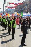 La línea de policía cordoned del área el día de fiesta Imagen de archivo libre de regalías