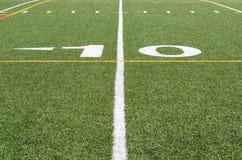 La línea de yardas 10 Imagen de archivo libre de regalías