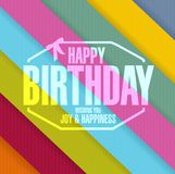 la línea del sello del feliz cumpleaños colorea el fondo ilustración del vector