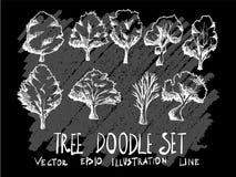 La línea dibujada mano árbol del ejemplo del vector del garabato fijó en Chalkboar Foto de archivo