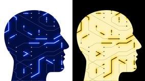 la línea digital del circuito de microprocesador de la cabeza del cerebro 4k, gente piensa la inteligencia artificial del AI ilustración del vector