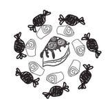 La línea dulce iconos de los caramelos fijados en la forma del círculo con las piruletas coloridas clasificadas de los chocolates Fotografía de archivo libre de regalías