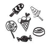 La línea dulce iconos de los caramelos fijados en la forma del círculo con las piruletas coloridas clasificadas de los chocolates Fotos de archivo
