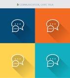 La línea fina fina iconos fijó de la comunicación y charla y charla, estilo simple moderno ilustración del vector