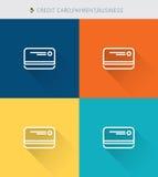 La línea fina fina iconos fijó de la tarjeta de crédito y pago y negocio, estilo simple moderno stock de ilustración