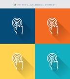La línea fina fina iconos fijó de móvil y de paga por el cilck y el pago, estilo simple moderno ilustración del vector