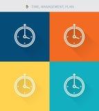 La línea fina fina iconos fijó del tiempo y planeamiento y gestión, estilo simple moderno ilustración del vector