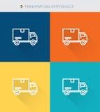 La línea fina fina iconos fijó del transport&delivery y del vehículo, estilo simple moderno libre illustration