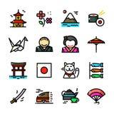 La línea fina iconos de Japón fijó, vector el ejemplo stock de ilustración