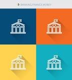La línea fina iconos de SThin fijó del banking&finance y del dinero, estilo simple moderno Foto de archivo libre de regalías