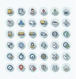 La línea fina iconos del color plano del vector fijó con logístico, negocio de la entrega, símbolos del esquema de la distribució ilustración del vector