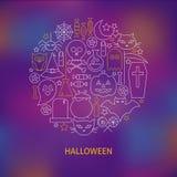 La línea fina iconos del día de fiesta de Halloween fijó concepto formado círculo Foto de archivo libre de regalías
