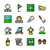 La línea fina iconos del golf fijó, vector el ejemplo stock de ilustración