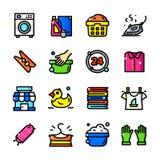 La línea fina iconos del lavadero fijó, vector el ejemplo stock de ilustración