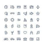 La línea fina iconos del vector fijó con el viaje, símbolos del esquema del turismo Vacaciones de verano, servicio de la habitaci Foto de archivo libre de regalías