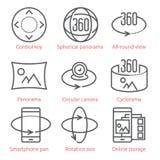 La línea fina iconos del vector fijó con la opinión de 360 grados y, las herramientas del panorama y los usos ilustración del vector