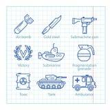 La línea fina iconos del vector fijó para el infographics militar, UX móvil libre illustration