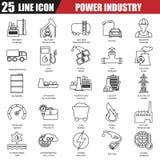 La línea fina iconos fijó de la central eléctrica, extracción de diversos recursos Fotografía de archivo