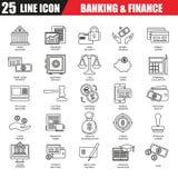 La línea fina iconos fijó de la economía, de actividades bancarias y de servicios financieros stock de ilustración