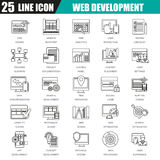 La línea fina iconos fijó del diseño web y del desarrollo, codificación del web ilustración del vector