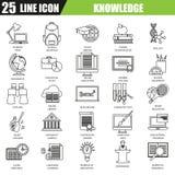 La línea fina iconos fijó del entrenamiento de la educación escolar de la distancia stock de ilustración