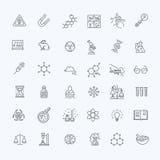 La línea fina moderna iconos fijó de la investigación de la bioquímica libre illustration