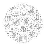La línea fina moderna iconos fijó de la investigación de la bioquímica ilustración del vector
