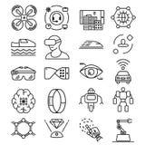 La línea fina moderna iconos fijó de la tecnología futura y del robot inteligente artificial Imágenes de archivo libres de regalías