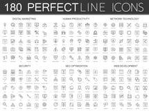 180 la línea fina moderna iconos fijó del márketing digital, productividad humana, tecnología de red, seguridad cibernética, SEO Fotos de archivo