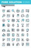 La línea fina moderna iconos planos del diseño fijó de la educación en línea stock de ilustración