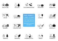 La línea fina perfecta iconos y símbolos del pixel de diversos industrias/sectores empresariales le gustan las telecomunicaciones stock de ilustración